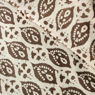 Pure Cotton Light Kashish With Highlighted Plant Motif Hand Block Print Fabric