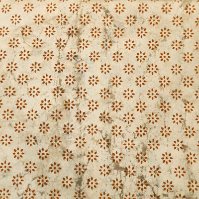 Pure Cotton Light Kashish With Rust Dot Flower Motifs Hand Block Print Fabric