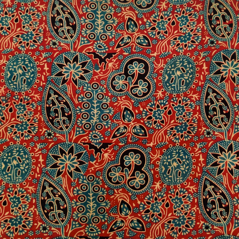 Pure Cotton Madder Ajrak With Green Wild Flower Jaal Hand Block Print Blouse Fabric ( 80 cm )