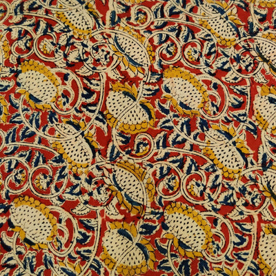 Pure Cotton Madder Kalamkari With Mustard Wild Flower Jaal Hand lock Print Fabric