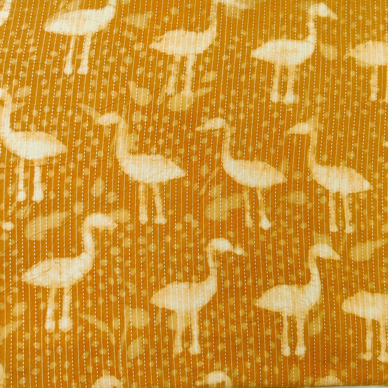 Pure Cotton Mustard Kaatha With White Ibis Hand Block Print Fabric