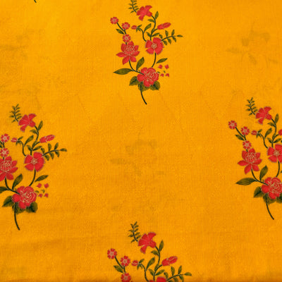 Pure Cotton Mustard With Flower Bouquet Jaal Screen Print Fabric