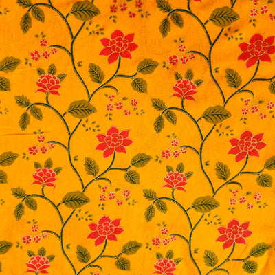 Pure Cotton Mustard With Flower Jaal Screen Print Fabric