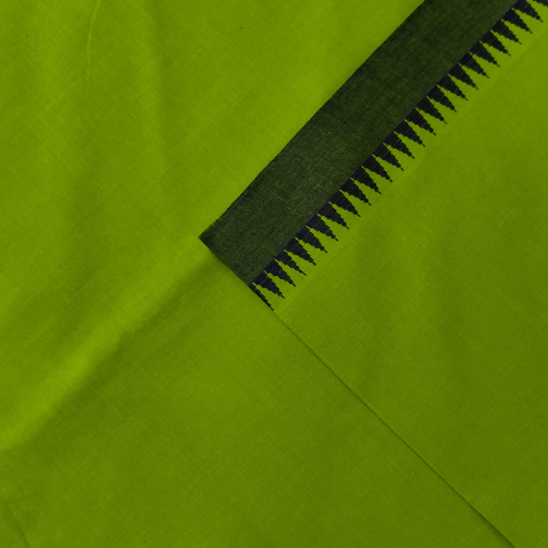 Pure Cotton Narayan Peth Green Temple Border South Cotton Fabric