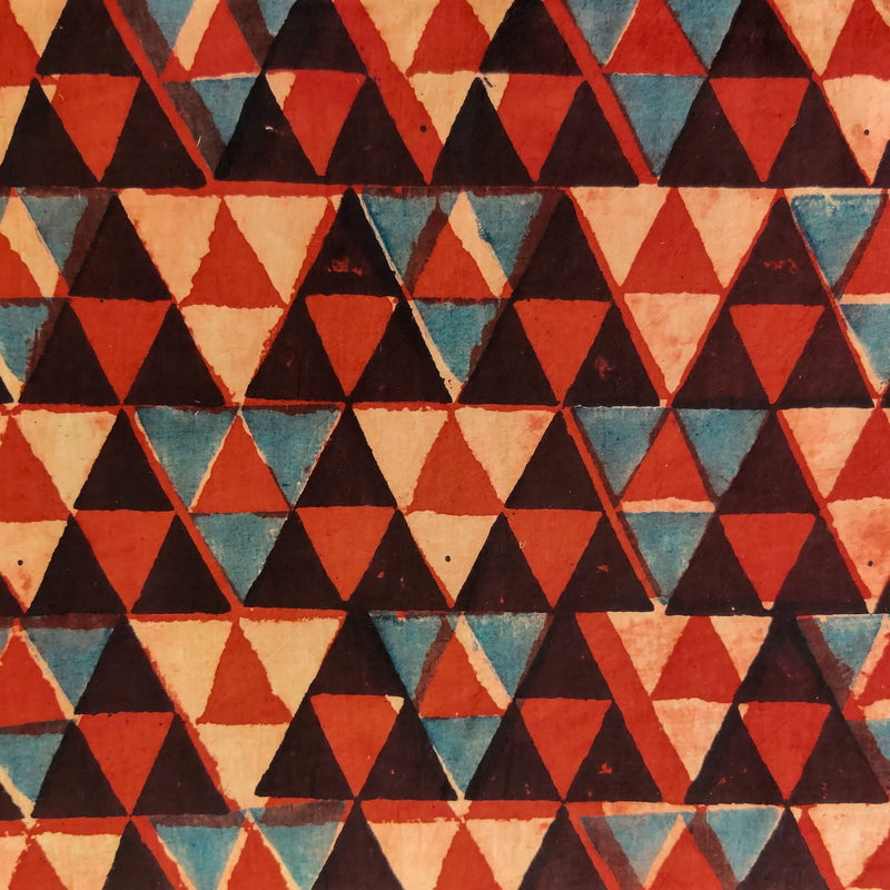 Pure Cotton Natural Ajrak  Black Blue Red Cream Triangles Hand Block Print Fabric