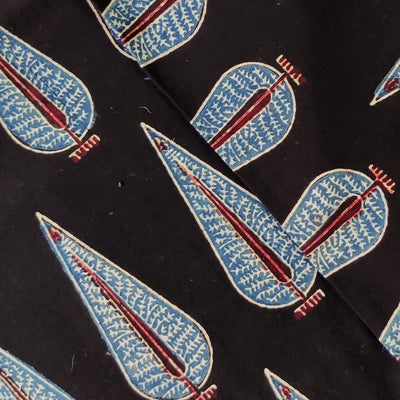 Pure Cotton Natural Ajrak  Black With Blue And Red Ashoka Tree Hand Block Print Fabric