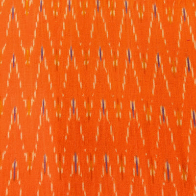 Pure Cotton Orange Ikkat With Cream Zig Zag Weave Woven Fabric