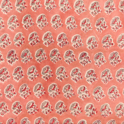 Pure Cotton Peach Jaipuri With Grey Flower Hand Block Print Fabric