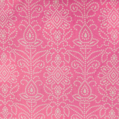 Pure Cotton Pink Bandhani Screen Print Fabric