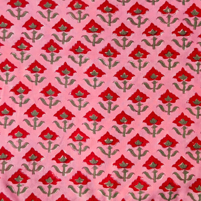 Pure Cotton Pink Jaipuri With Red Single Flower Motif Hand Block Print Fabric