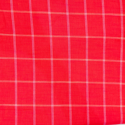 Pure Cotton Pinkish Red Handloom Fabric With Cream Stripes Handloom Fabric