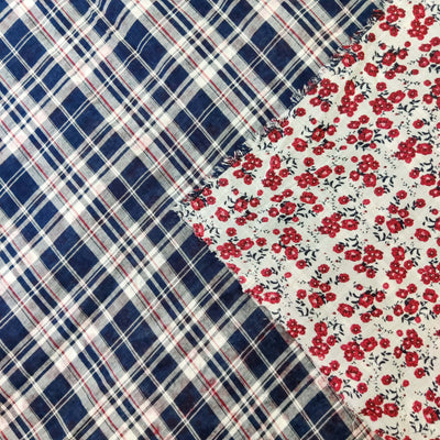 Pure Cotton Reversible Blue Checks With Floral Print