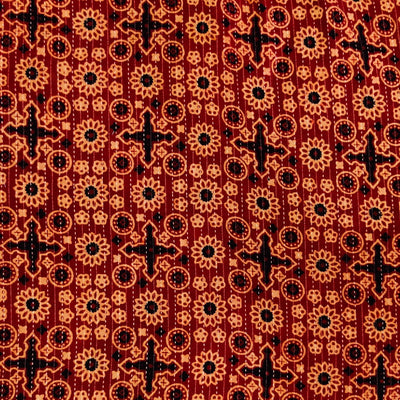 Pure Cotton Rust Kaatha With Cream And Black Star And Circle Tile Hand Block Print Fabric