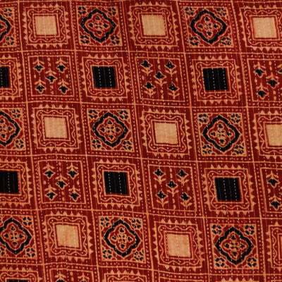 Pure Cotton Rust Kaatha With Intricate Sqaure Hand Block Print Fabric