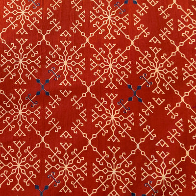 Pure Cotton Rust With Sandy Brown  Pattern Hand Block Print Fabric