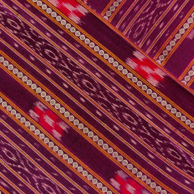 Pure Cotton Sambhalpuri Ikkat Purple With Detailed Intricate Stripes With Tiny Pasapalli Weaves Hand Woven Fabric