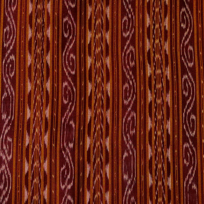 Pure Cotton Sambhalpuri Ikkat Shades Of Brown With Detailed Intricate Stripes Hand Woven Fabric