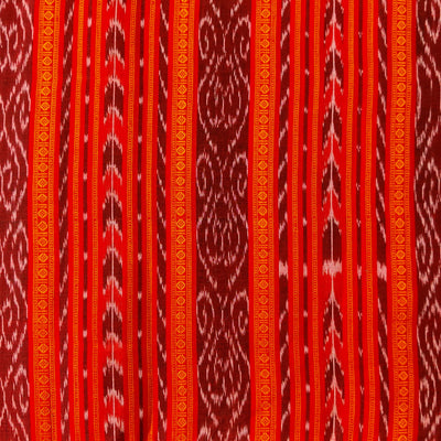 Pure Cotton Sambhalpuri Ikkat Shades Of Red  With Intricate Stripes Hand Woven Fabric