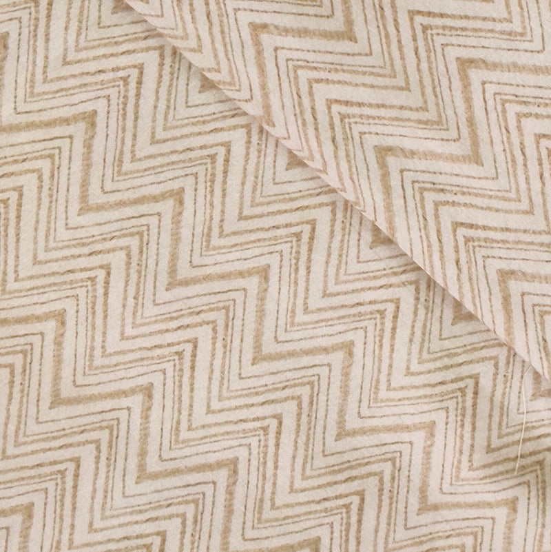 Pure Cotton Screenprint Sandy Grey Zig Zag Fabric