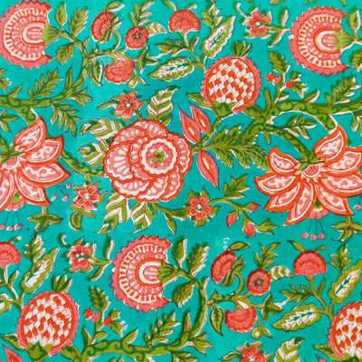 Pure Cotton Sea Blue Jaipuri With Pink Wild Flower Jaal Hand Block Print Fabric