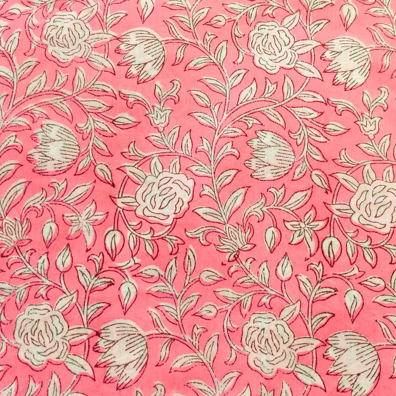 Pure Cotton Soft Pink Jaipuri With White Flowers Hand Block Print Blouse Fabric ( 1 Meter )