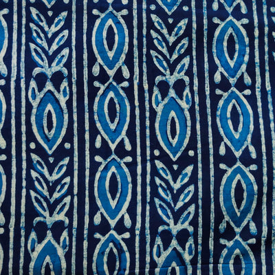 Pure Cotton Special Ankola Indigo With Beautiful Tribal Stripes Hand Block Print Fabric