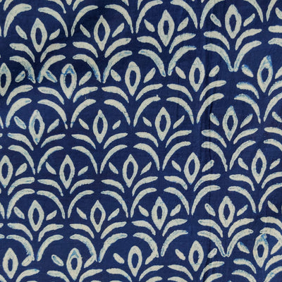 Pure Cotton Special Ankola Indigo With Grass Hand Block Print Fabric