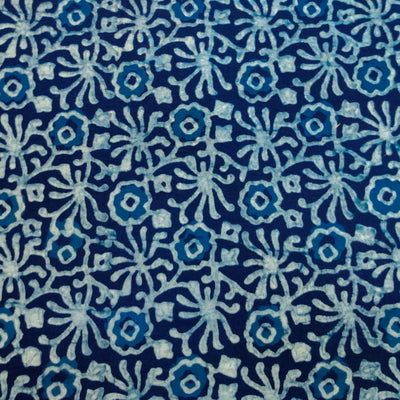 Pure Cotton Special Ankola Indigo With Light Blue And White Flower Jaal Hand Block Print Fabric