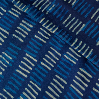 Pure Cotton Special Ankola Indigo With Light Blue And White Lines Motif Hand Block Print Fabric