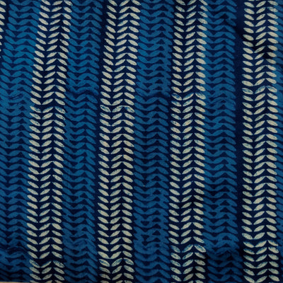 Pure Cotton Special Ankola Indigo With Light Blue And White Tiny Pattern Stripes Hand Block Print Fabric