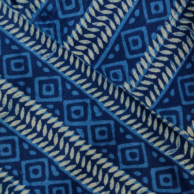 Pure Cotton Special Ankola Indigo With Light Blue And White Tribal Stripes Hand Block Print Fabric