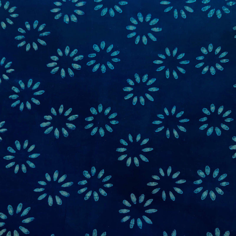 Pure Cotton Special Ankola Indigo With Simple Flower Hand Block Print Blouse Fabric ( 80 cm )