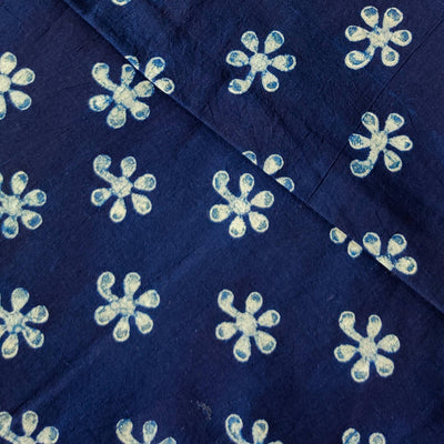 Pure Cotton Special Ankola Indigo With Tiny Flower Motif Hand Block Print Fabric