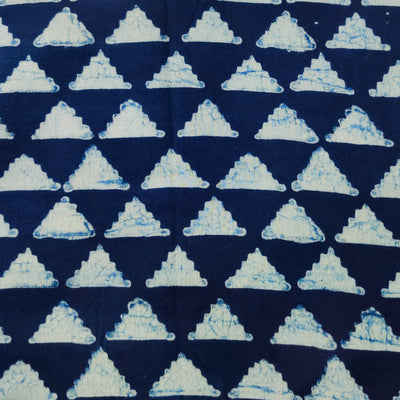 Pure Cotton Special Ankola Indigo With Triangles Jaali Hand Block Print Fabric