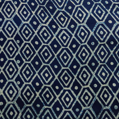 Pure Cotton Special Ankola Indigo With White Geometry Hand Block Print Fabric