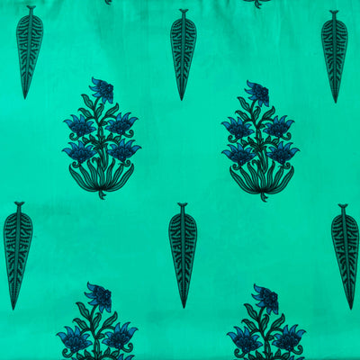 Pure Cotton Teal With Multi Mughal Motifs Screen Print Fabric