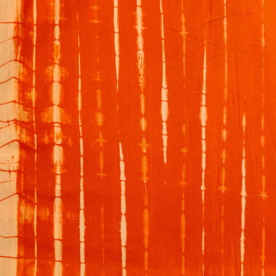 Pure Cotton Tie And Dye Orange Long Sibori Fabric