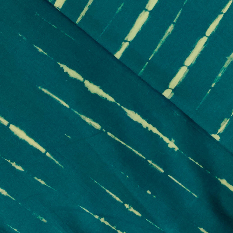 Pure Cotton Tie And Dye Tealish Yellow Long Sibori Fabric