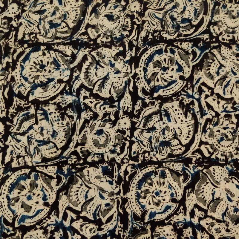 Pure Cotton Traditional Kalamkari Black With Blue And Grey Jaal Hand Block Print Fabric