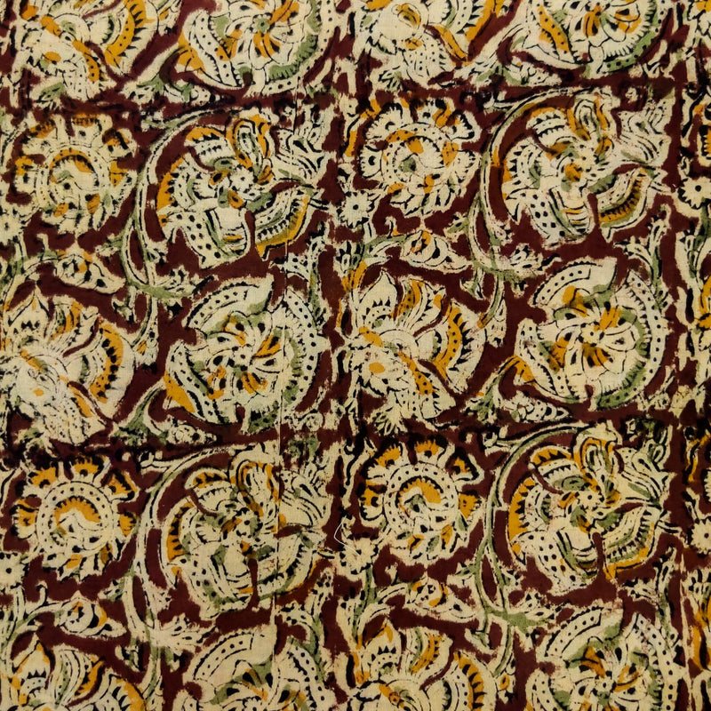 Pure Cotton Traditional Kalamkari Brown With Cream Mustard And Blue Flower Jaal Hand Block Print Fabric