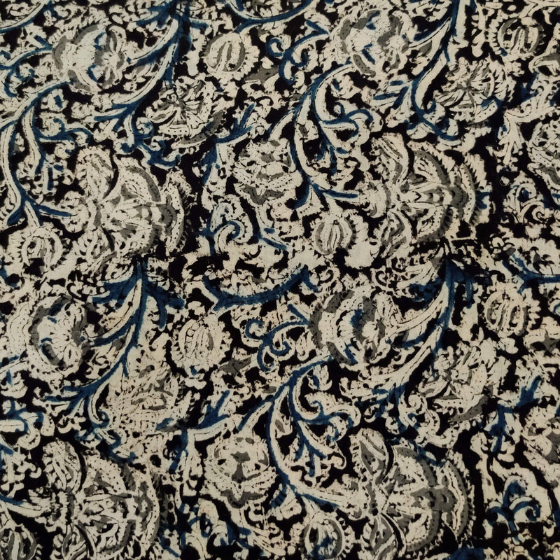 Pure Cotton Traditional Kalamkari Off White With Blue And Grey Jaal Hand Block Print Fabric
