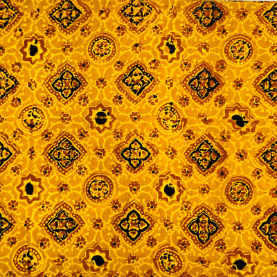 Pure Cotton Turmeric Dyed Ajrak With Black And Rust Tiles Hand Block Print Fabric