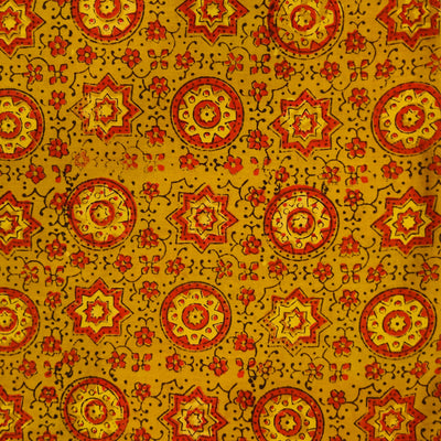 Pure Cotton Turmeric Dyed Inticate Tile Hand Block Print Fabric