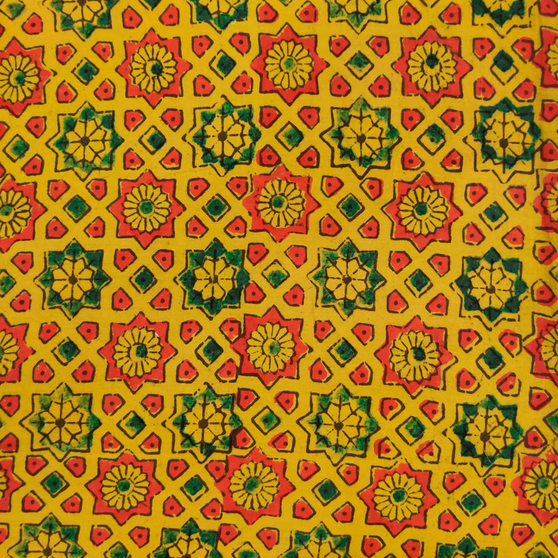 Pure Cotton Turmeric Dyed Natural Ajrak With Star Tile Hand Block Print Fabric