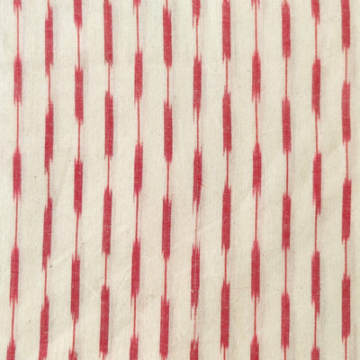 Pure Cotton White Ikkat With Red Stripes Woven Fabric
