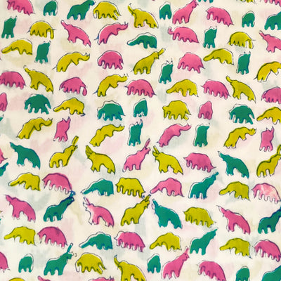 Pure Cotton Jaipuri White With Pink Yellow Teal Dino Hand Block Print Fabric