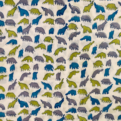 Pure Cotton Jaipuri White With Blue Green Grey Dino Hand Block Print Fabric