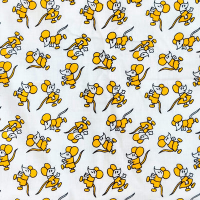 Pure Cotton White With Yellow Cute Mice Screen Print Fabric
