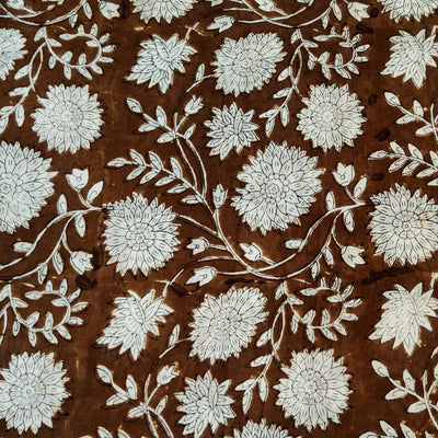 Pure Cotton Wood Brown Jaipuri With White Flower Jaal Hand Block Print Fabric