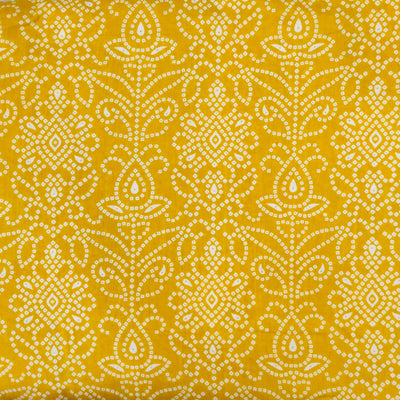Pure Cotton Yellow Bandhani Screen Print Fabric